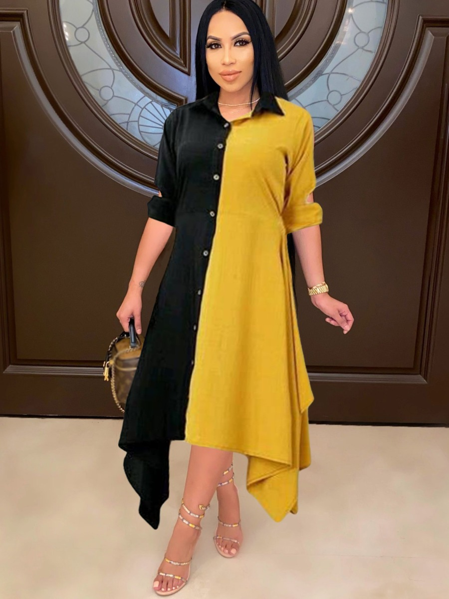 LW Color-lump A Line Asymmetrical Shirt Dress
