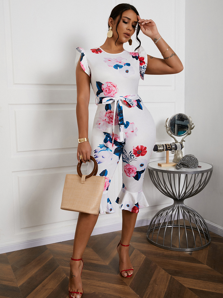 Lovely Floral Print Flounce Design One-piece Jumpsuit