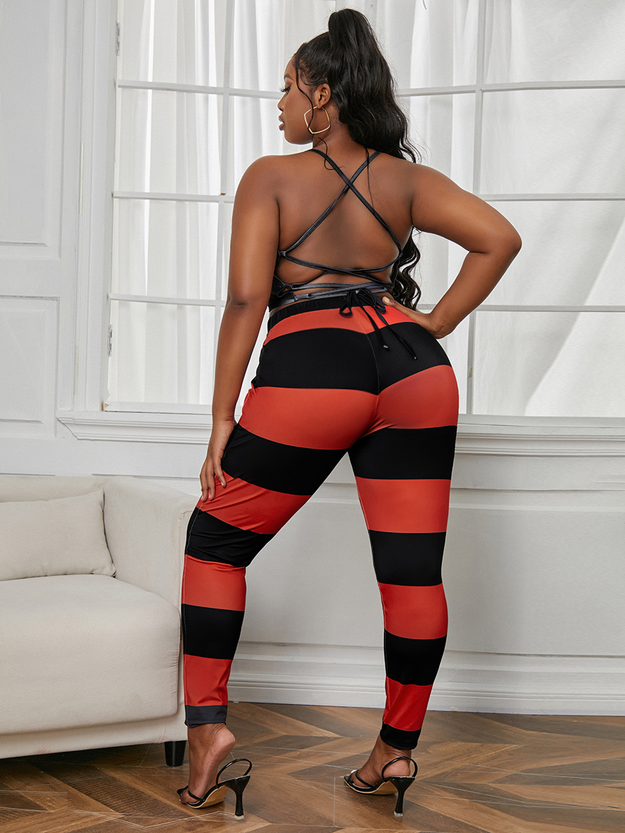 Lovely Plus Size Casual Lip Print Striped Backless Red Two-piece Pants Set
