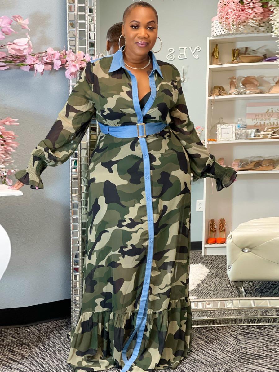 LW Plus Size Camo Ruffle Design Shirt Dress