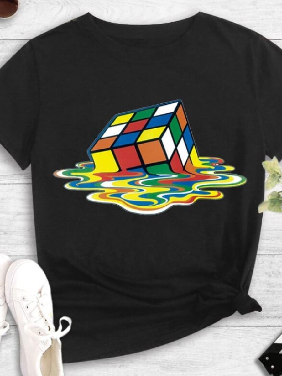Lovelywholesale coupon: LW BASICS Casual O Neck Print Black T-shirt