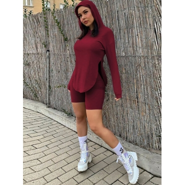 LW Hooded Collar Slit Two Piece Shorts Set