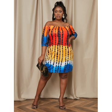 Lovely Plus Size Casual Off The Shoulder Tie-dye Yellow Mini Dress