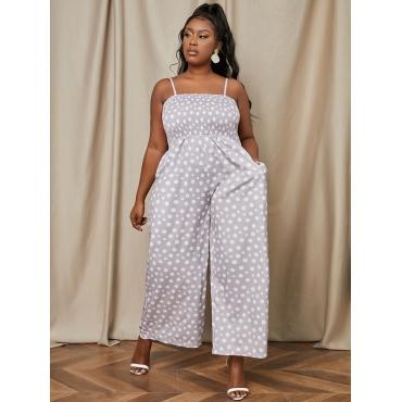 LW Plus Size Dot Print Wide Leg One-piece Jumpsuit