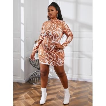LW BASICS Plus Size Whirlpool Print See-through Bodycon Dress