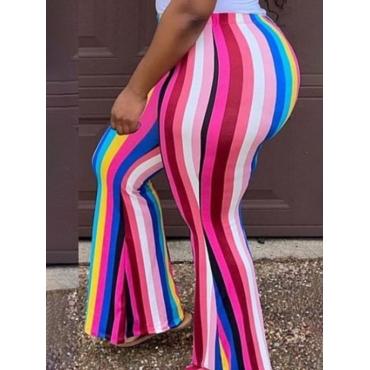LW Plus Size Rainbow Striped Flared Pants