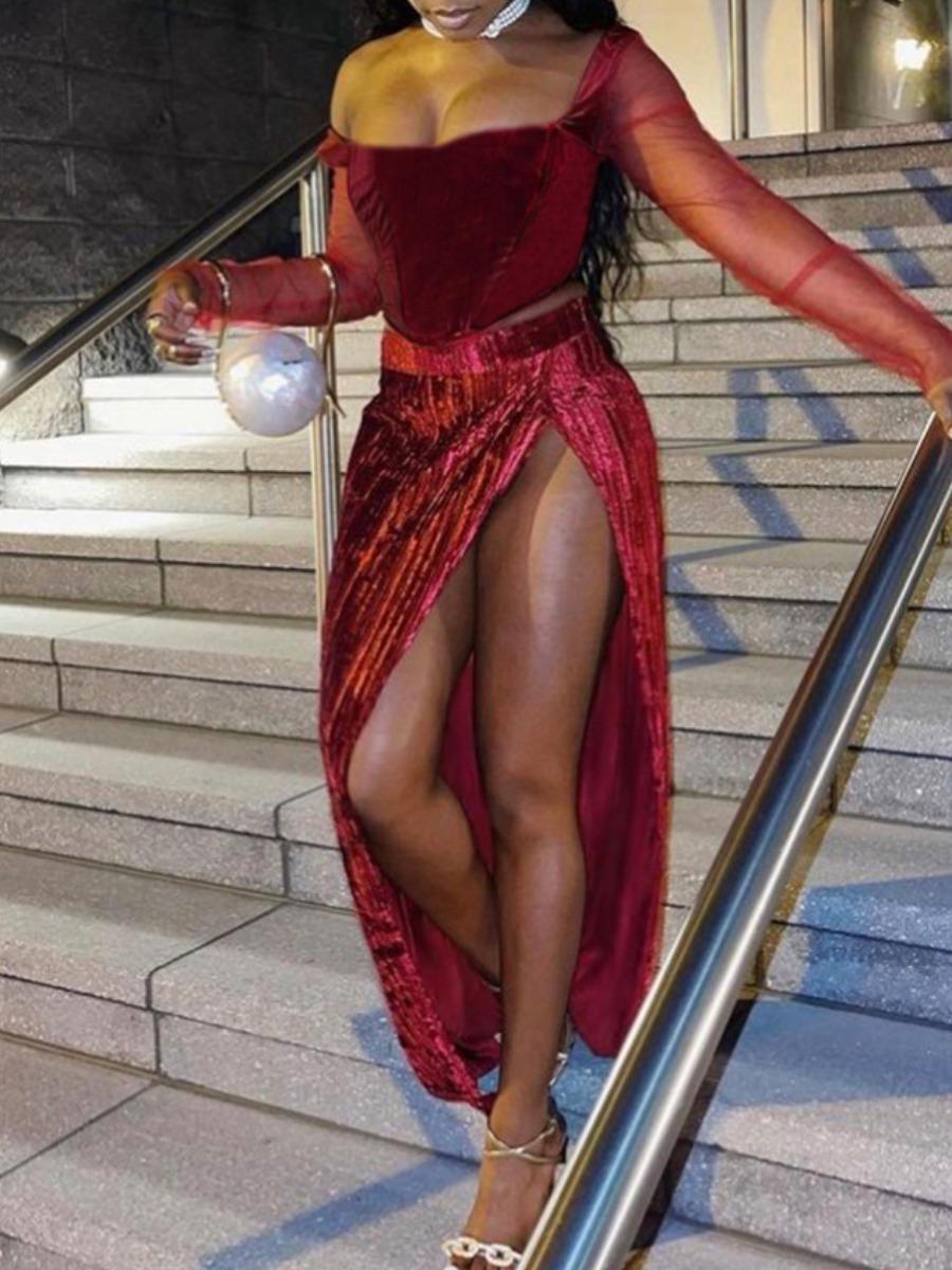LW SXY Velvet See-through High Split Skirt Set