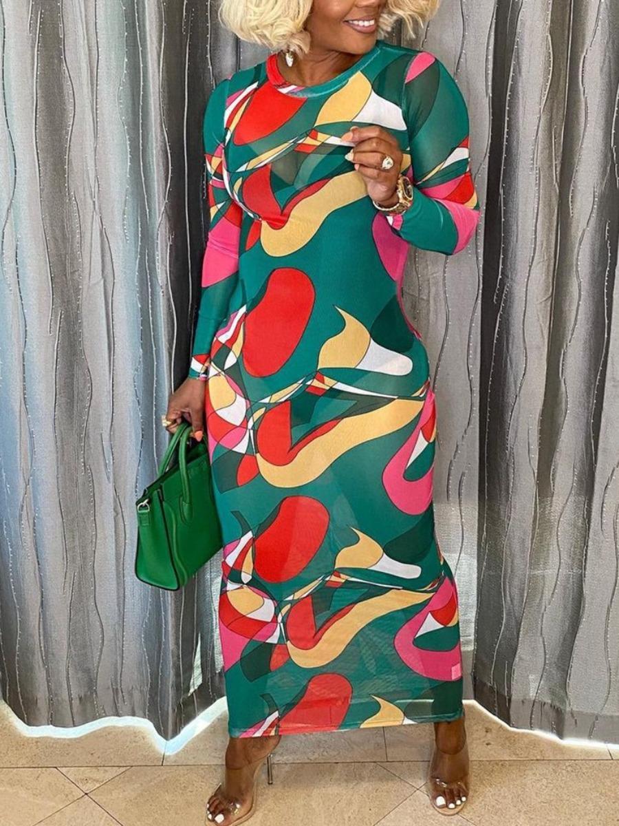LW SXY See-through Patchwork Bodycon Dress