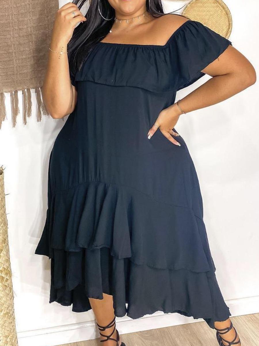 LW BASICS Plus Size Fold-over Flounce Design Dress