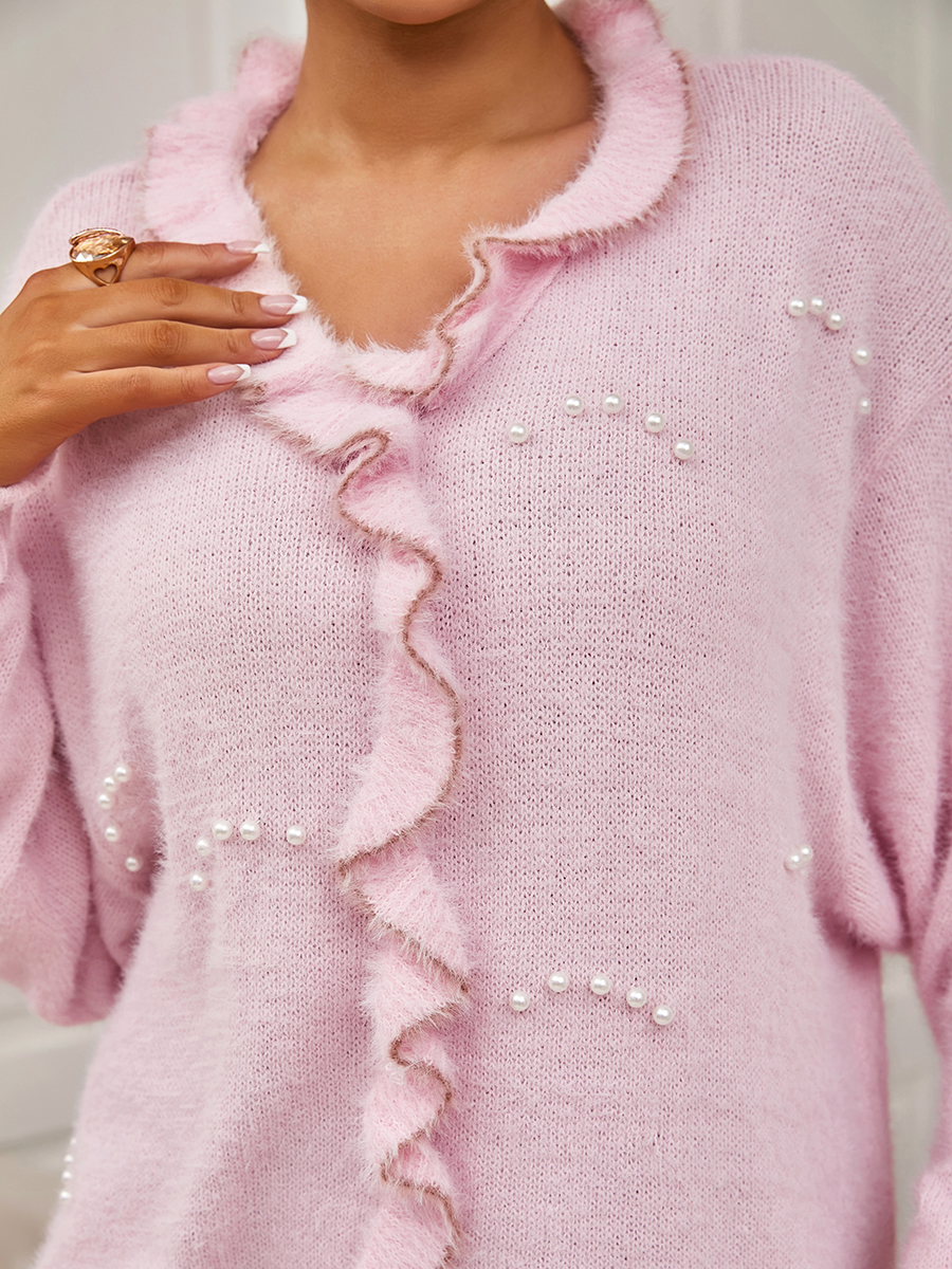 Lovely Pearl Decoration Flounce Design Sweater