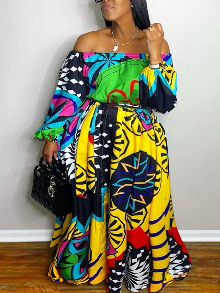 LW Plus Size Off The Shoulder Mixed Print Dress