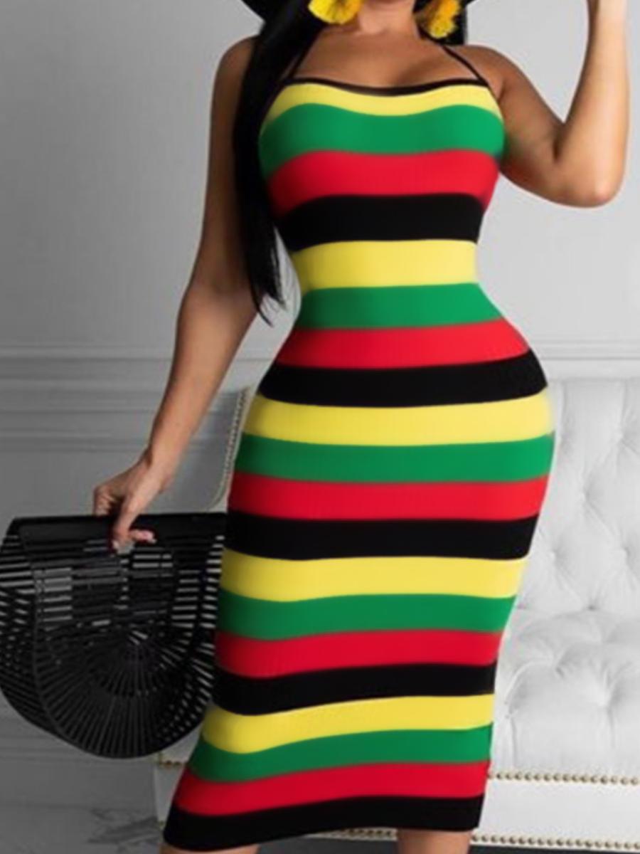 LW Striped Backless Bodycon Dress
