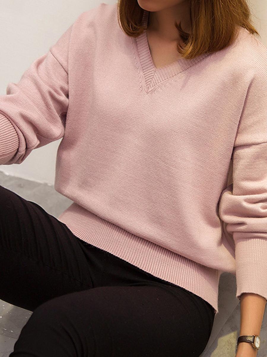LW Plus Size V Neck Dropped Shoulder Sweater