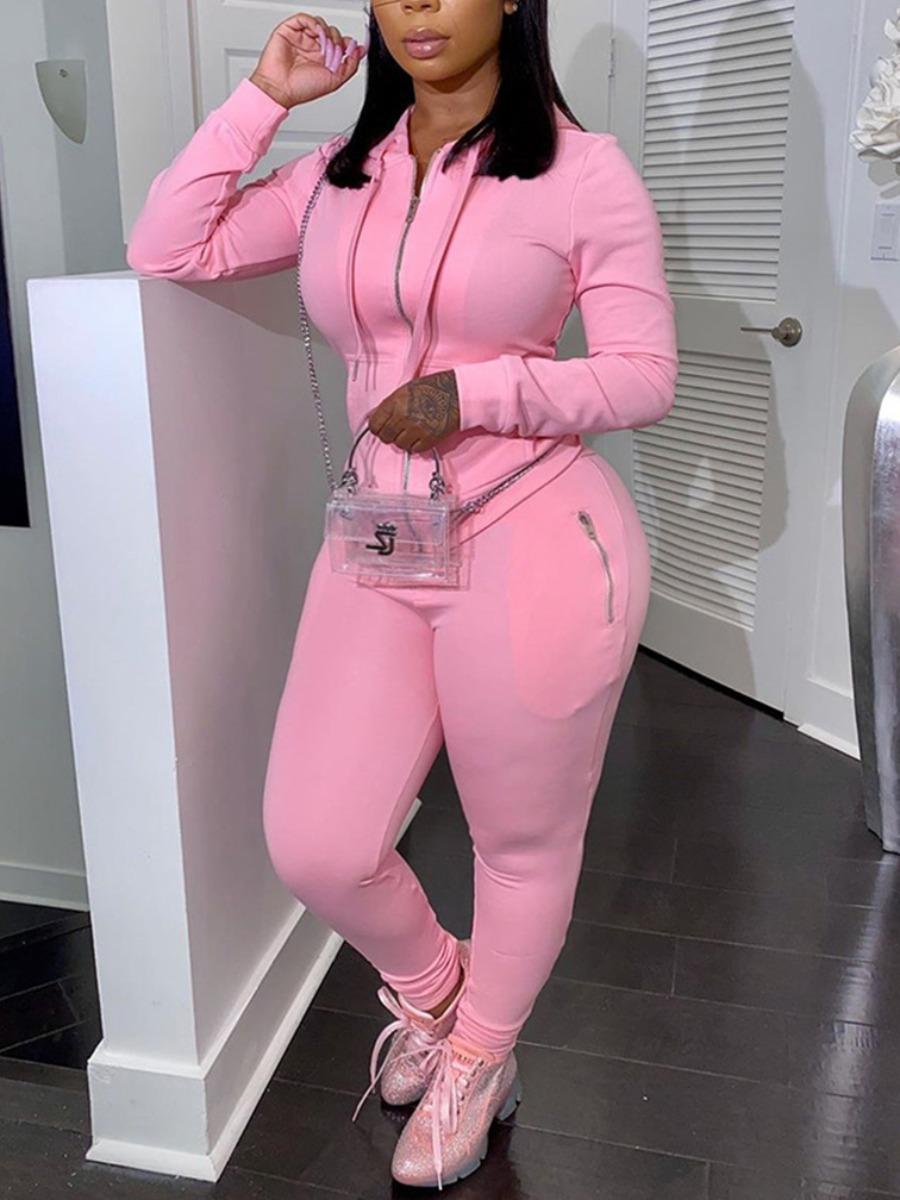 LW Plus Size Hooded Collar Zipper Design Pants Set