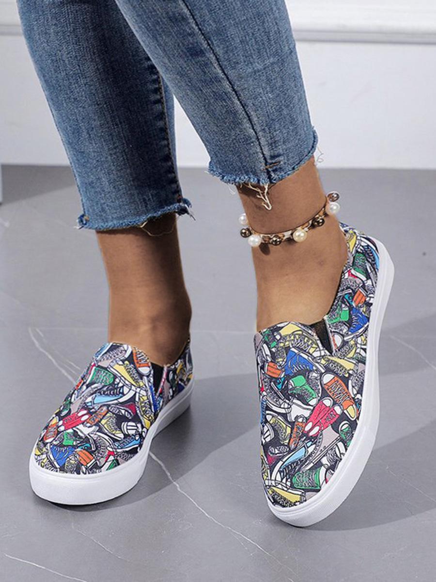 LW Shoe Print Patchwork Flats