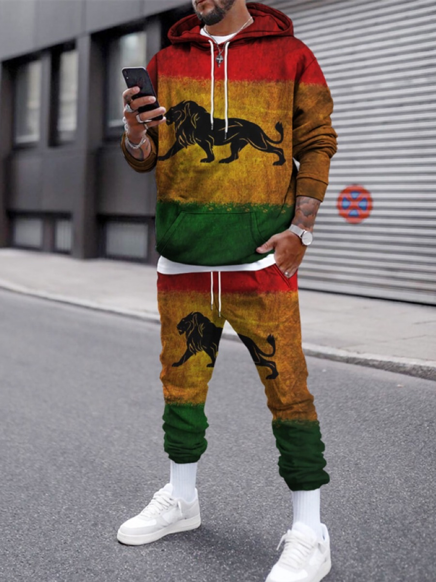 Lovely Men Lion Print Oversized Sweatsuit Set