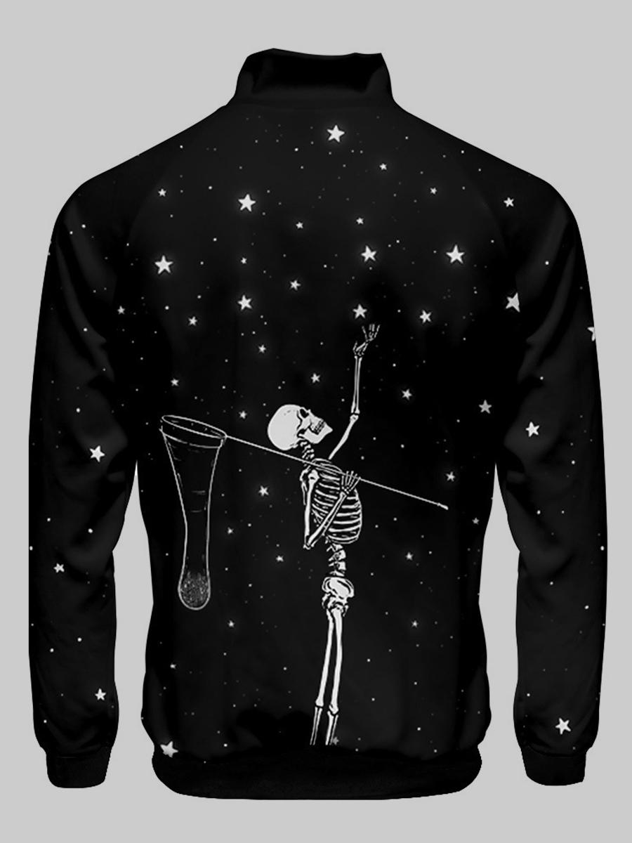 Lovely Men Skeleton Star Print Jacket