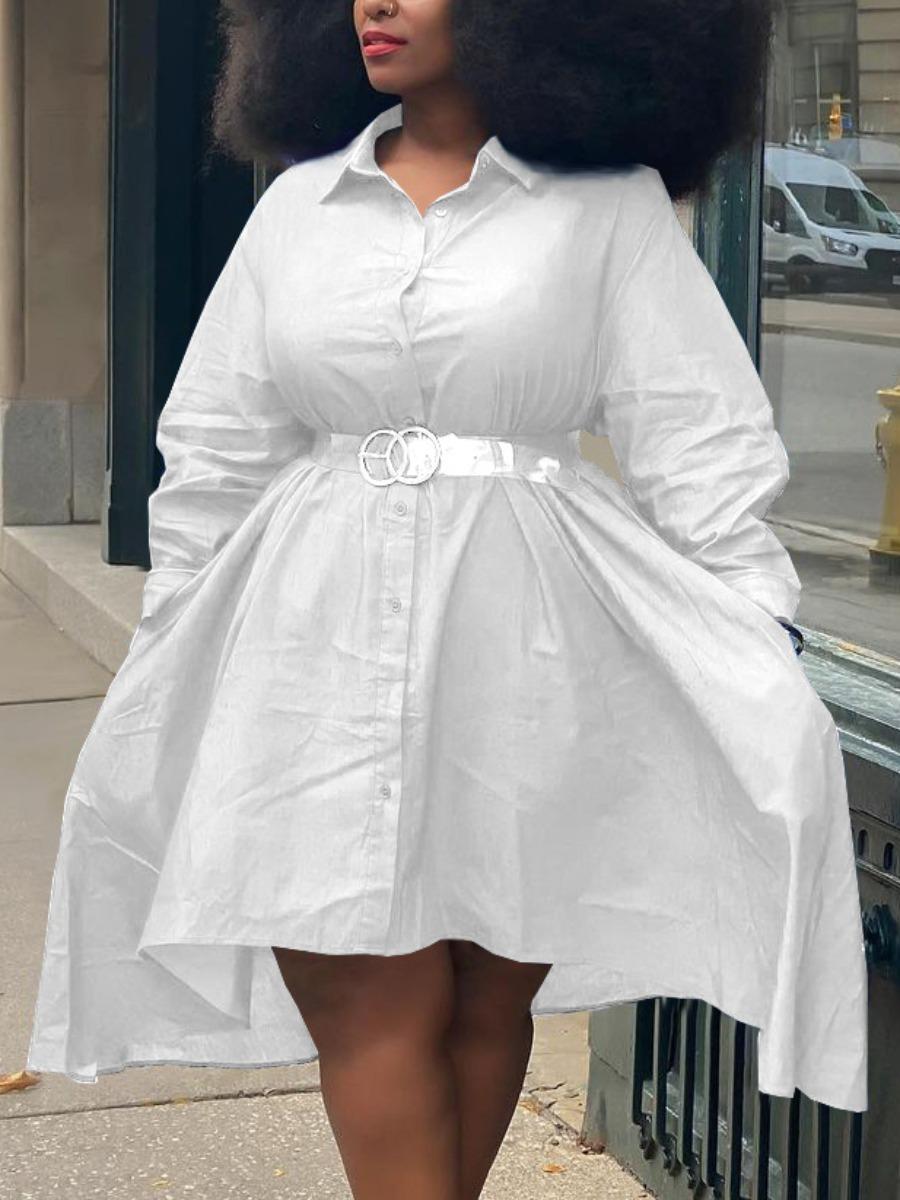 LW Plus Size Turndown Collar Pocket Design Shirt Dress (Without Belt)