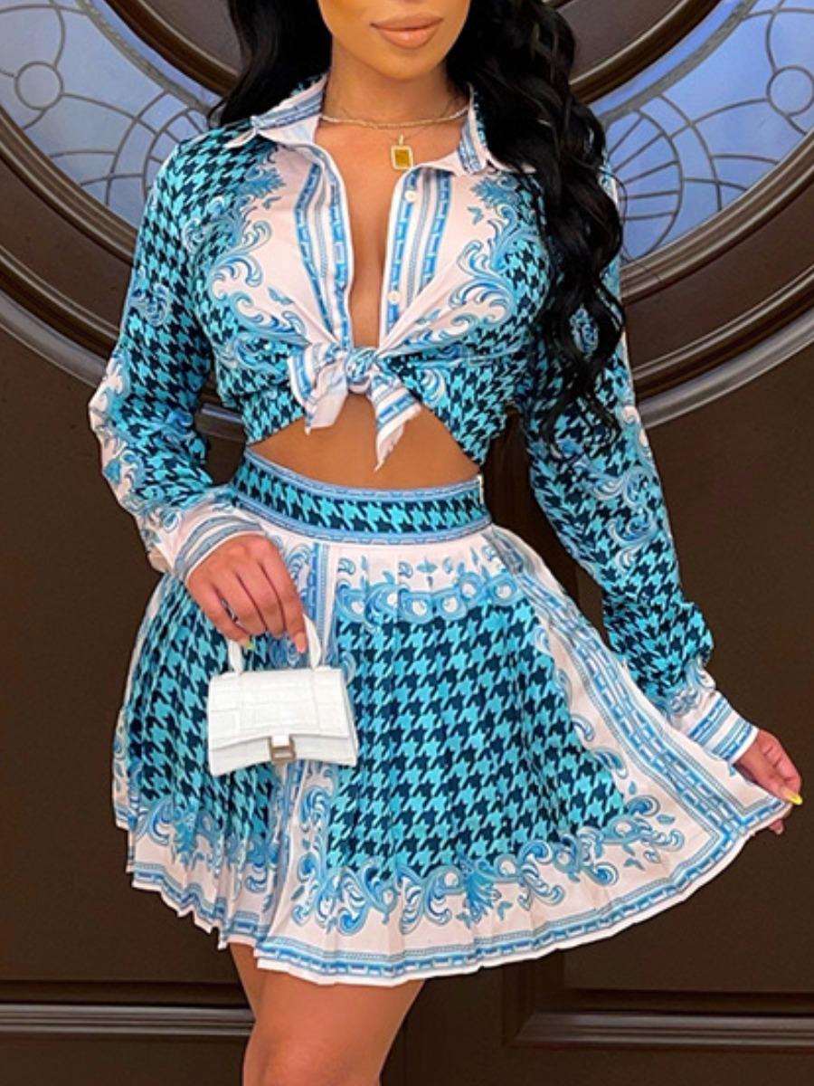 LW Hound Stooth Pleated Skirt Set