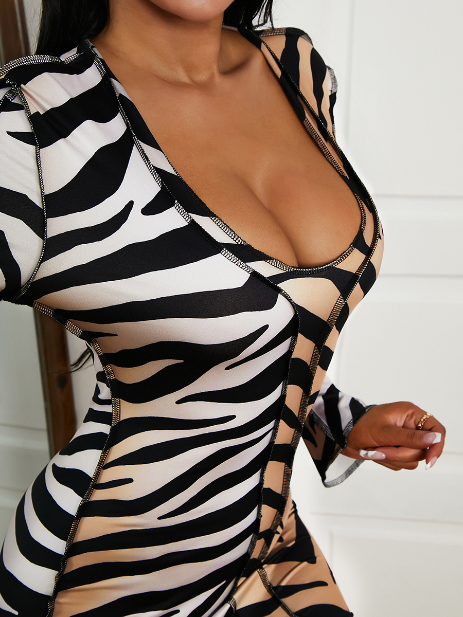 Lovely Tiger Stripe Bodycon Dress