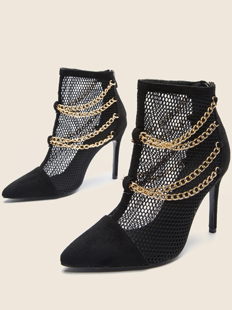 LW SXY Chain Decoration Mesh Booties
