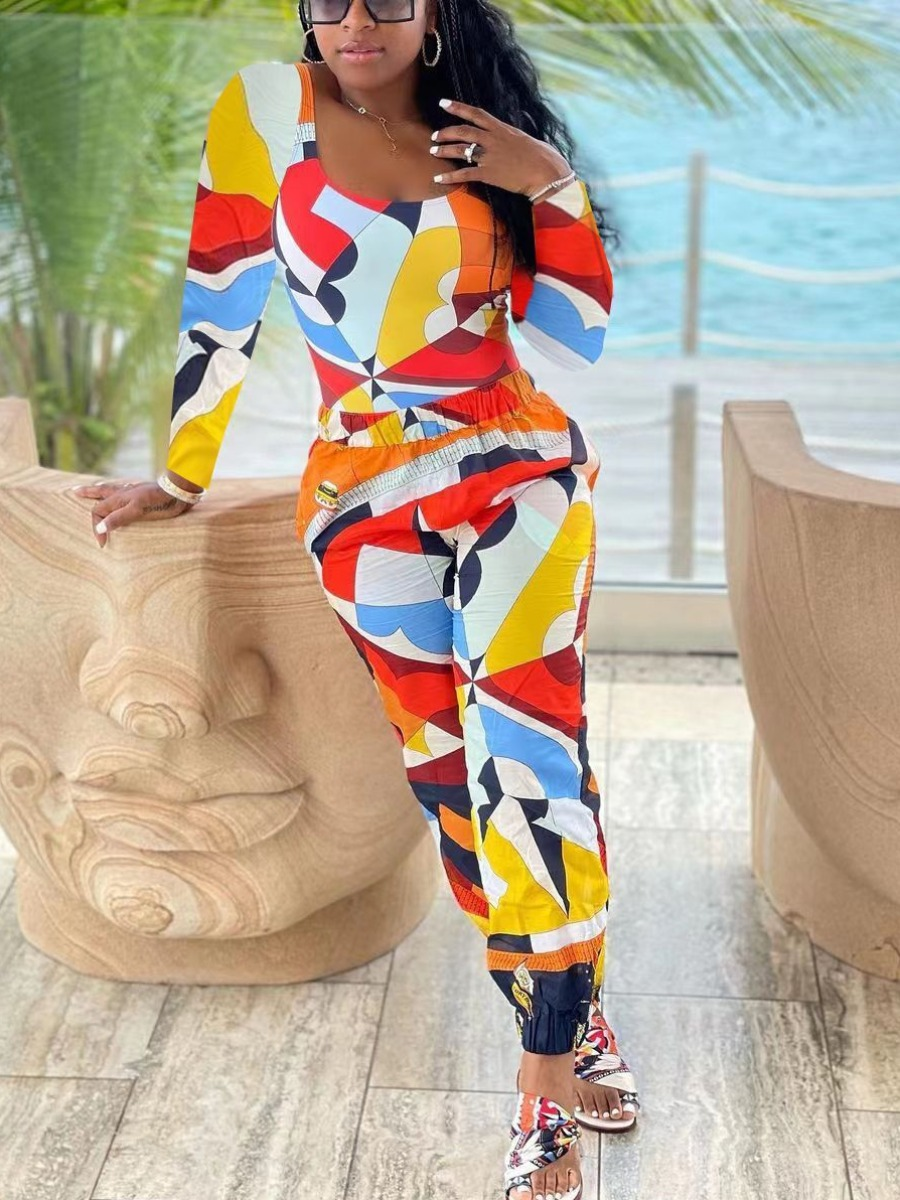 LW U Neck Color-lump Pants Set