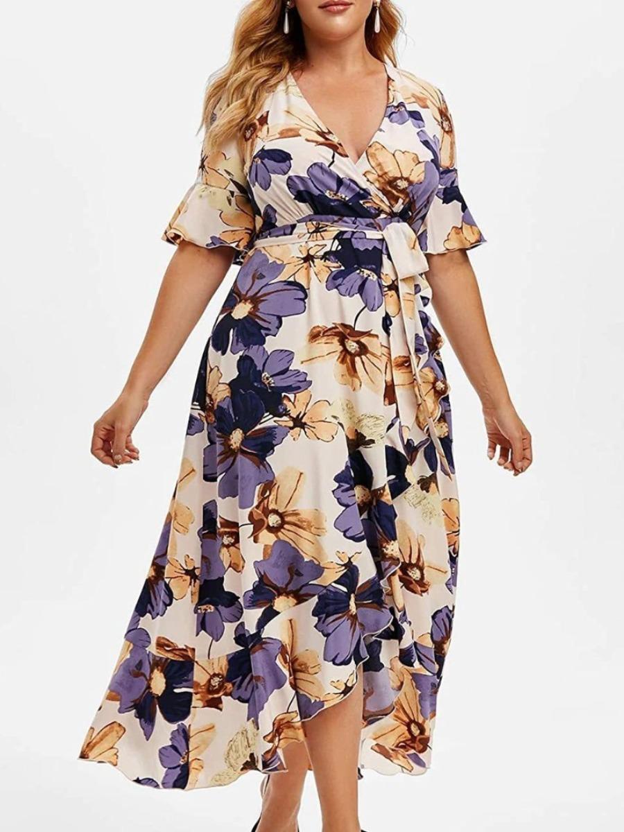 LW Plus Size Floral Print Bandage Design A Line Dress