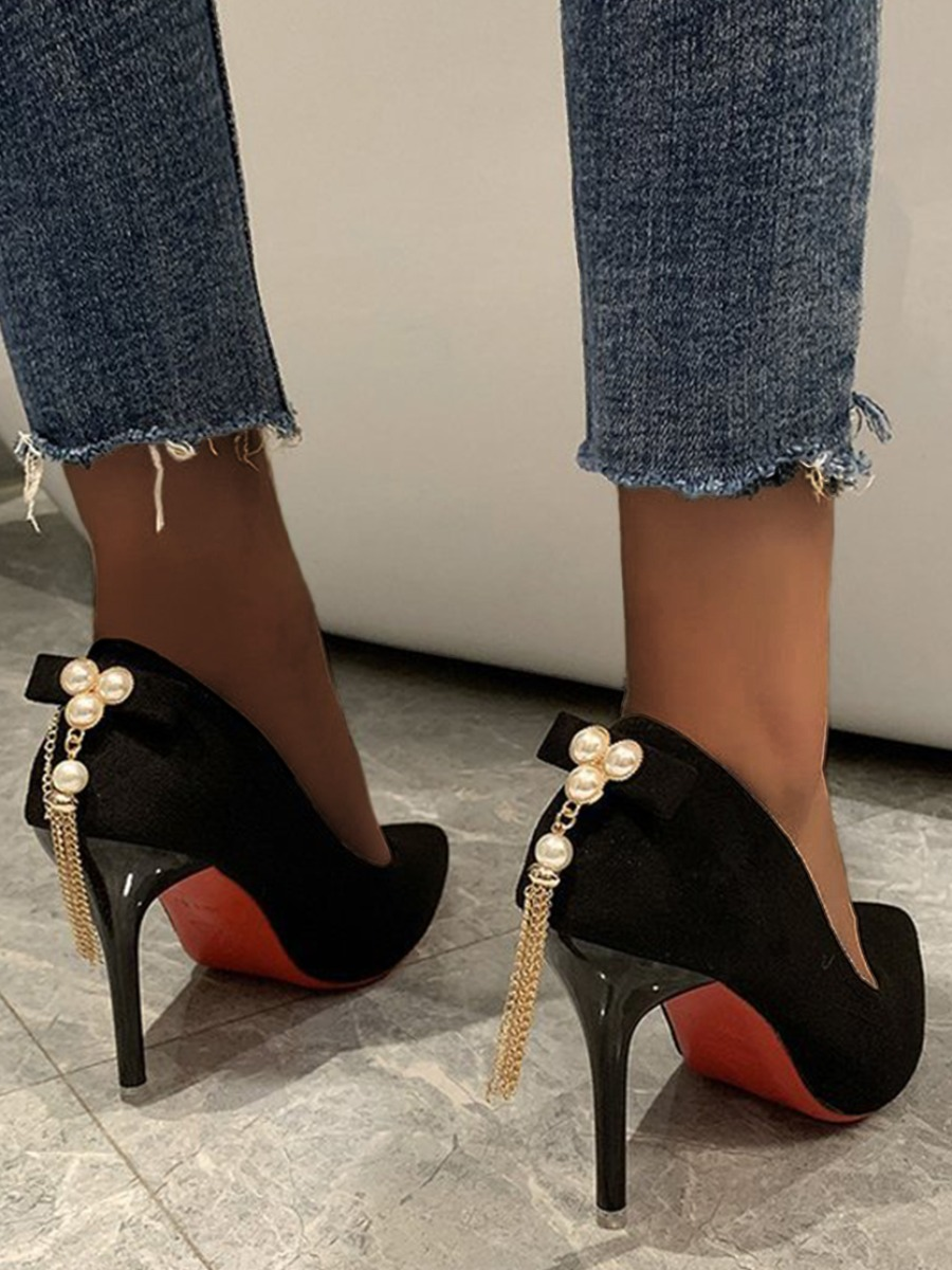 LW Pearl Chain Decoration Pumps