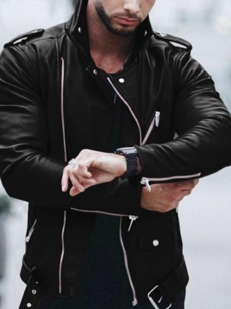 LW Men Zipper Pocket Design Leather