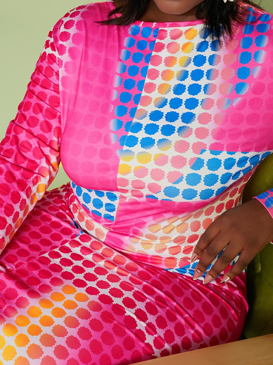 LW BASICS Plus Size Round Neck Tie-dye Dress
