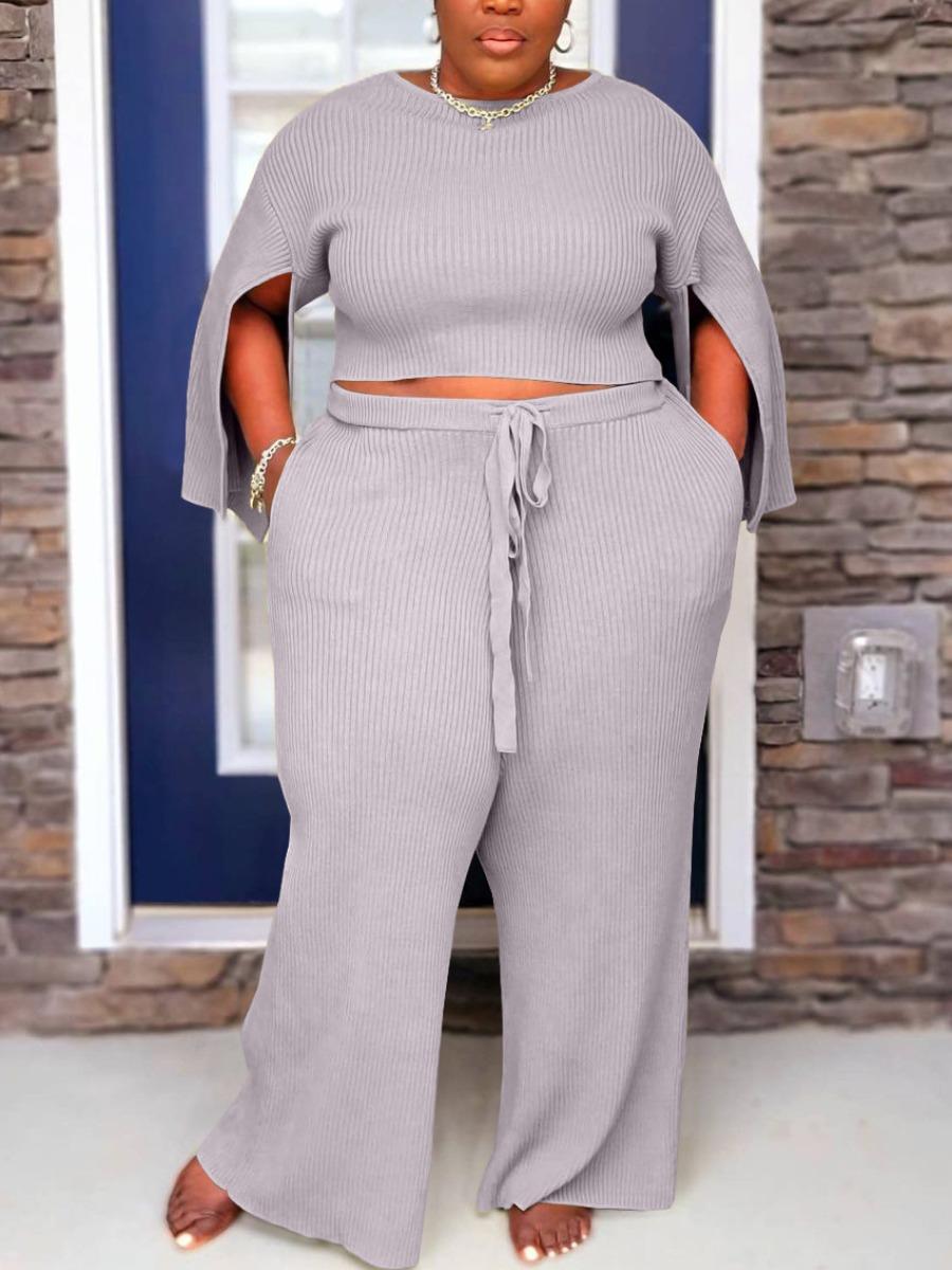 LW Plus Size Rib-Knit Slit Pants Set