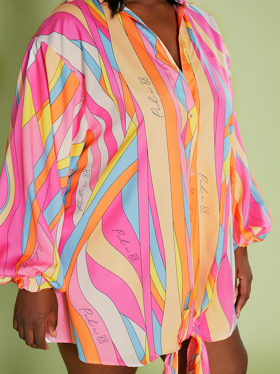 Lovely Plus Size Striped Loose Blouse