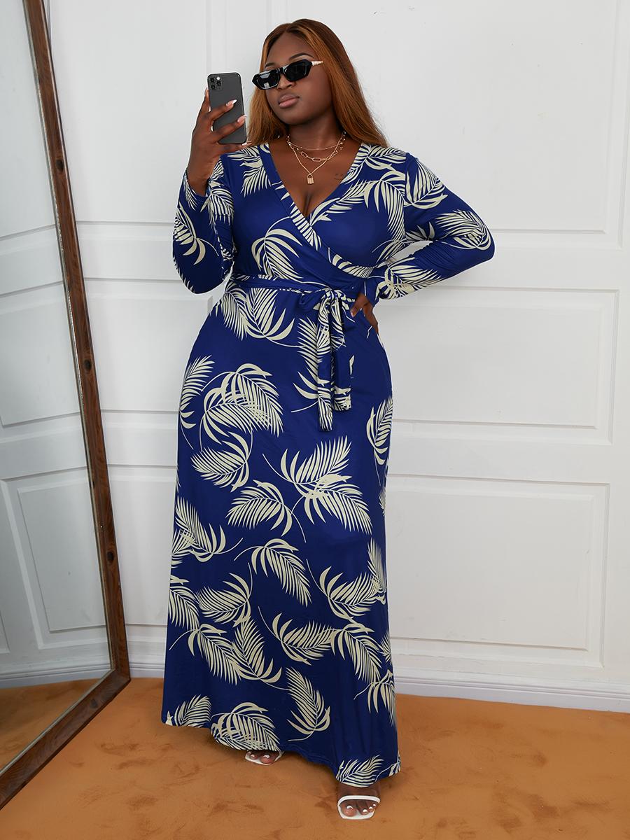 LW Plus Size Leaf Print Bandage Design A Line Dress