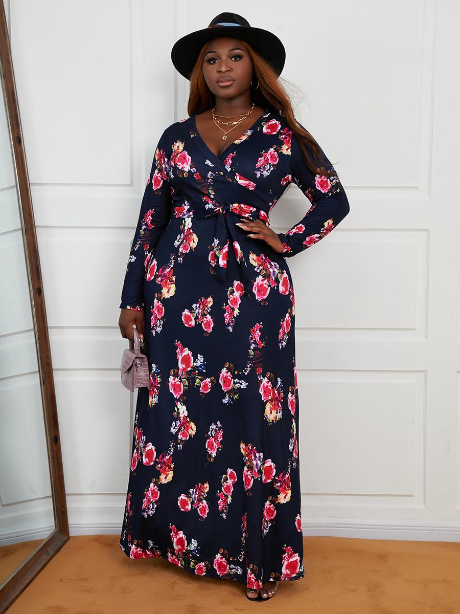 LW Plus Size V Neck Floral Print A Line Dress