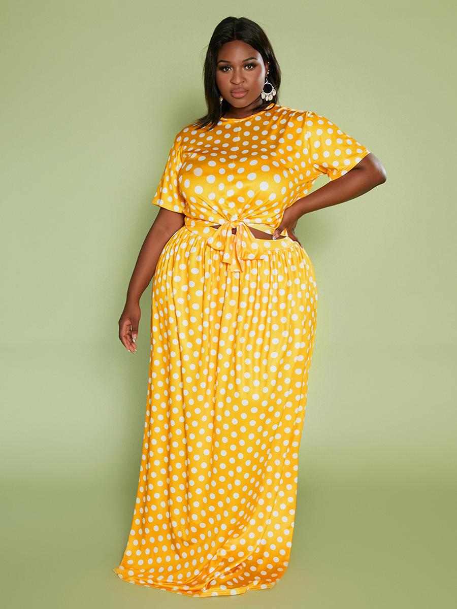 LW Plus Size Dot Print Bandage Design Skirt Set