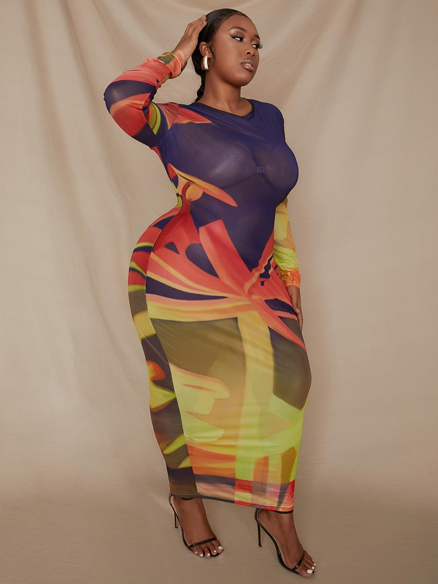 LW Plus Size Round Neck Gradient Print See-through Bodycon Dress