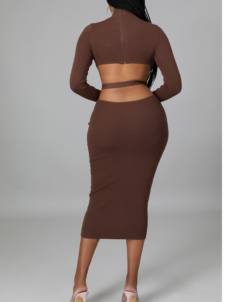 LW Turtleneck Hollow-out Bodycon Dress