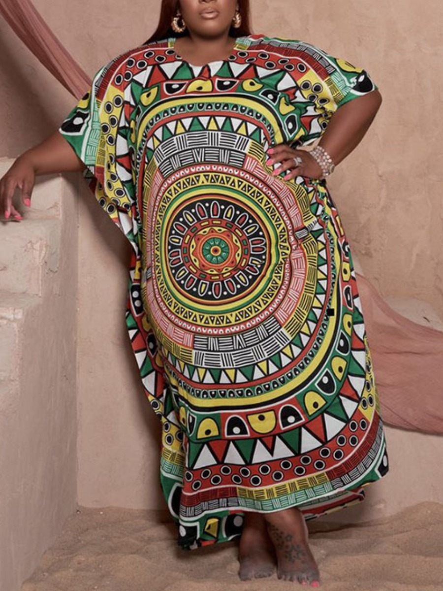 LW Plus Size Geometric Print Patchwork Dress