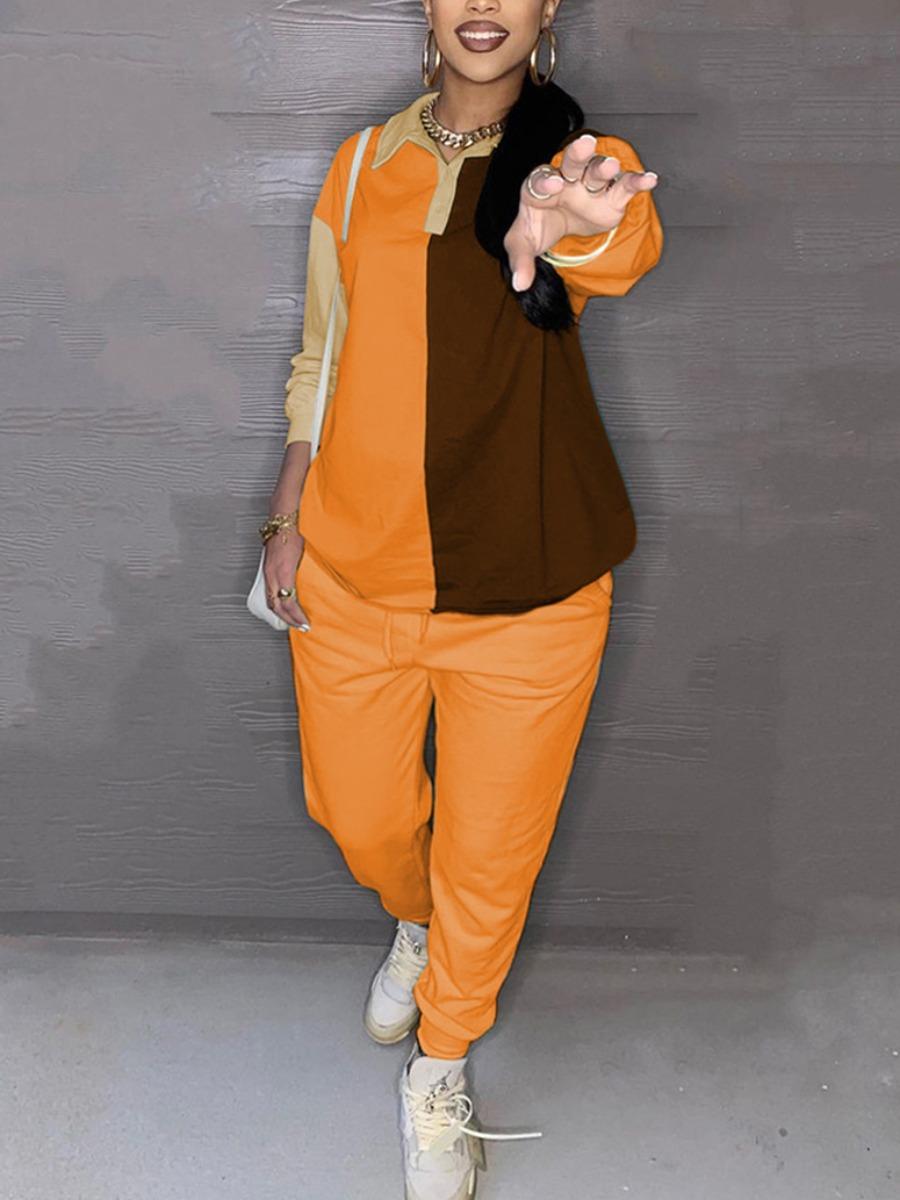 LW Plus Size Color-lump Drawstring Pants Set