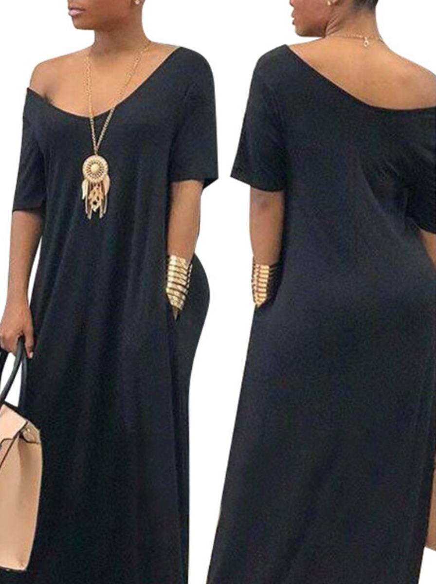 Lovely V Neck Pocket Design Loose Dress