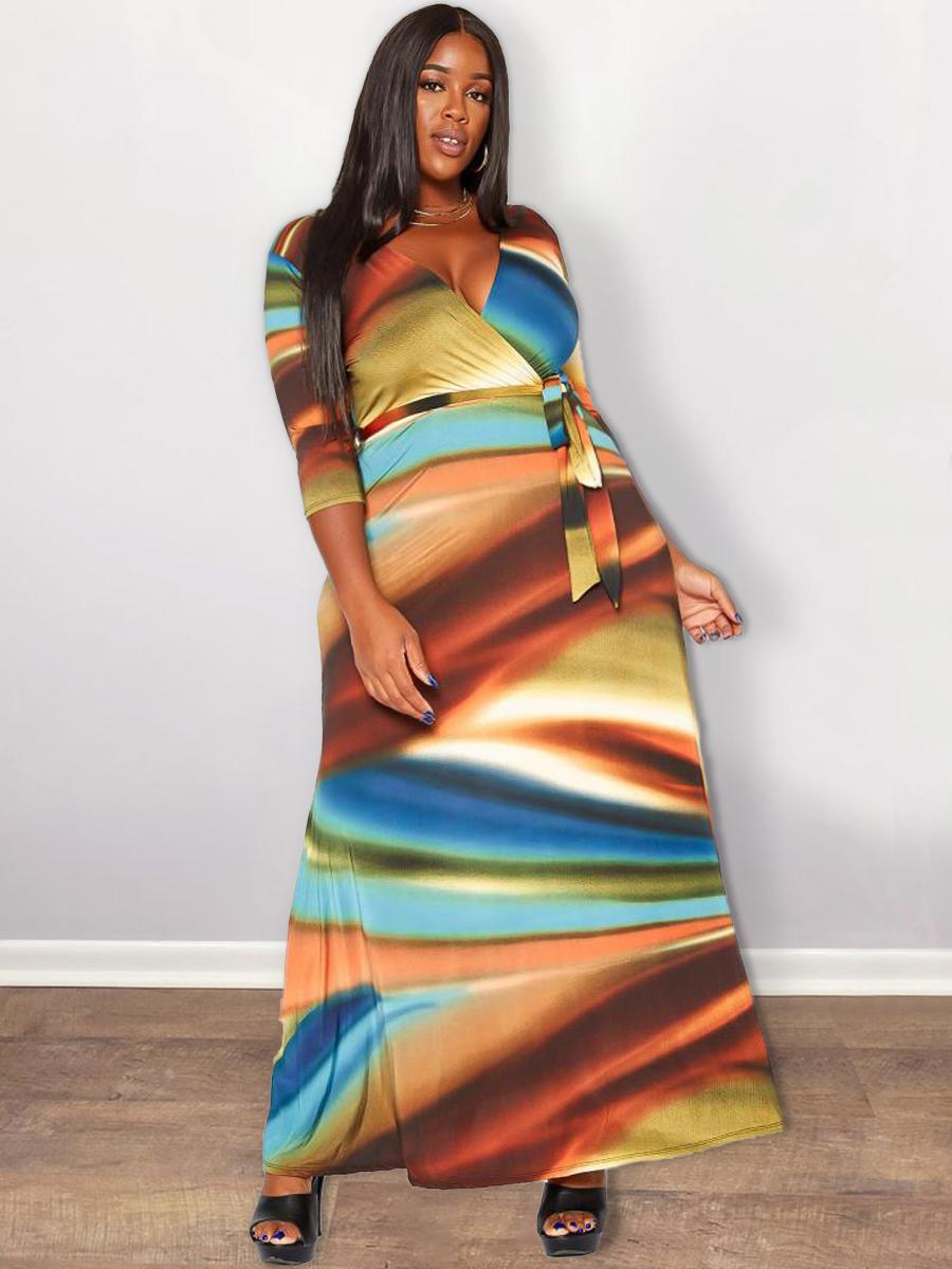 LW Plus Size V Neck Gradient A Line Dress