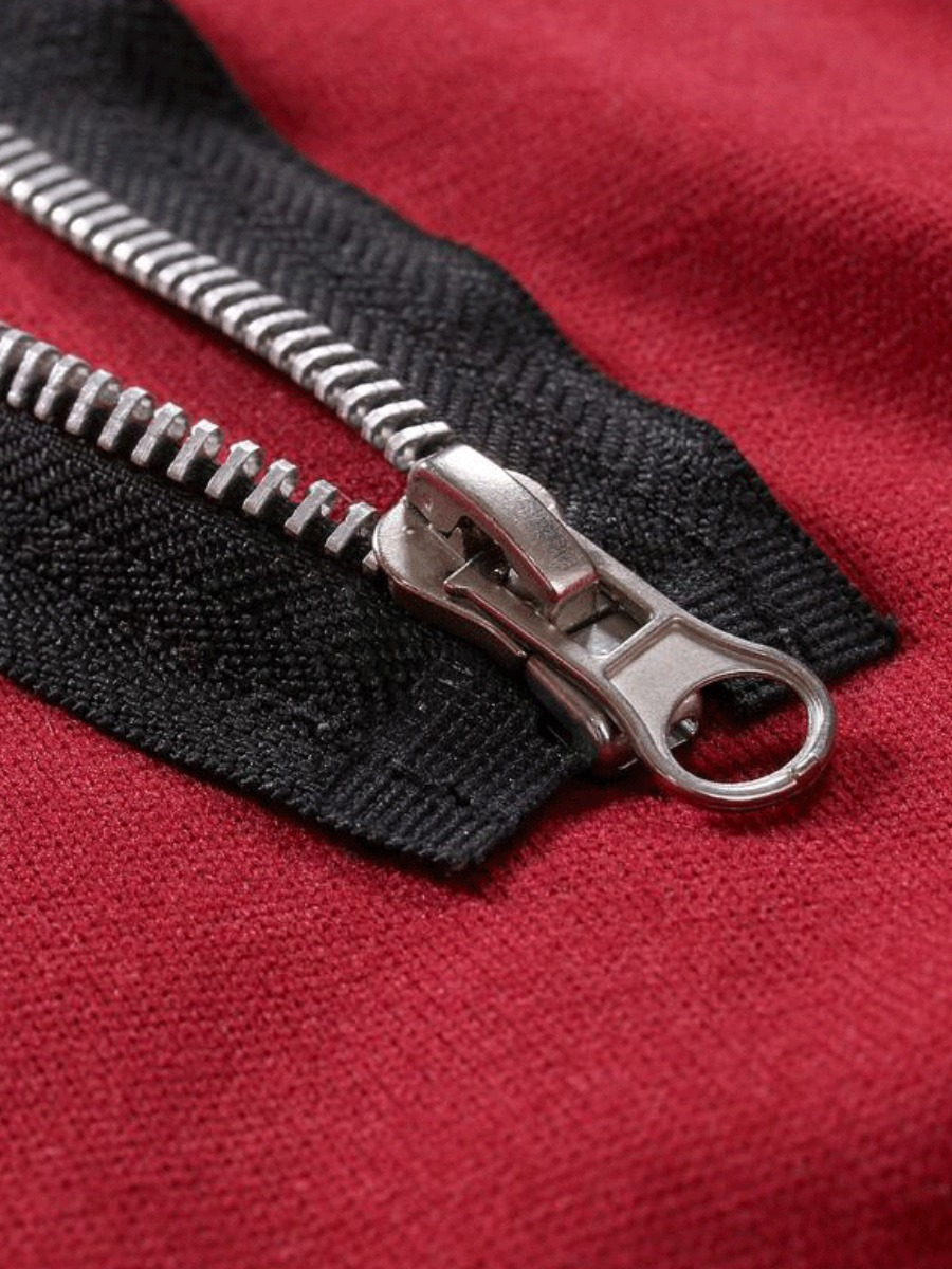 LW COTTON Men Hooded Collar Zipper Design Hoodie