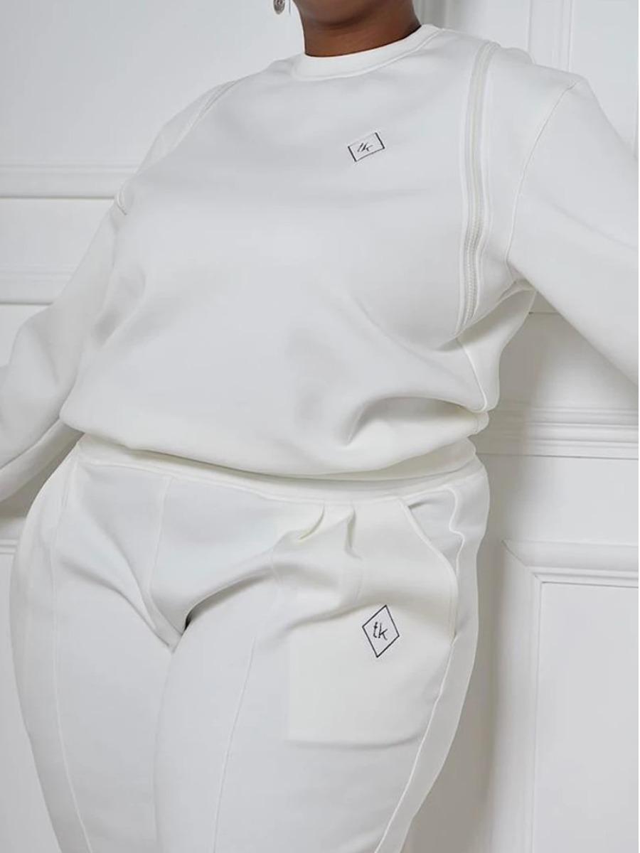 LW Plus Size Letter Print Zipper Design Sweatshirt