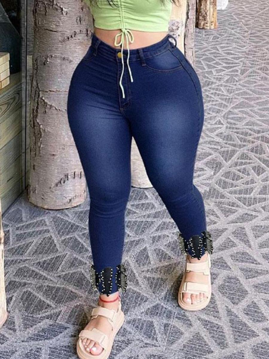 LW BASICS High-waisted Pearl Decoration Jeans