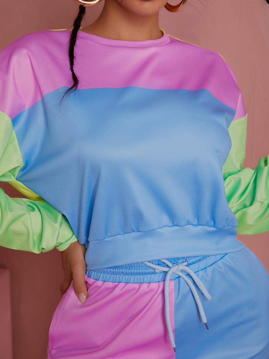 LW Colorblock Crop Top Two Piece Pants Set