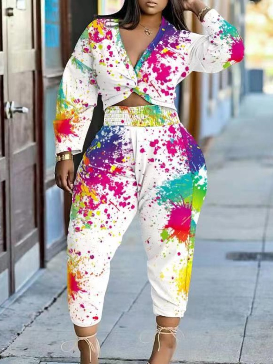 LW Plus Size Splash-ink Design Twist Front Pants Set