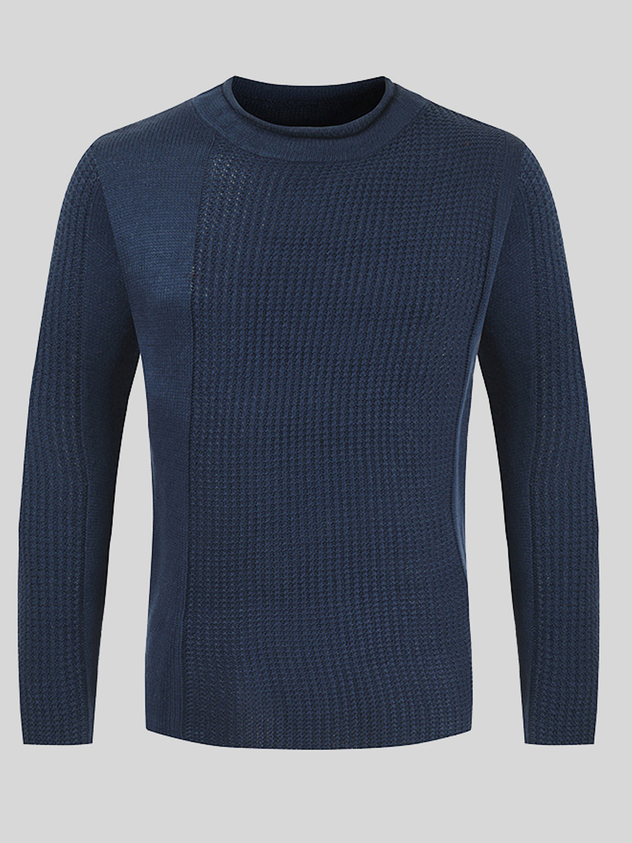 LW Men Round Neck Rib-knit Sweater