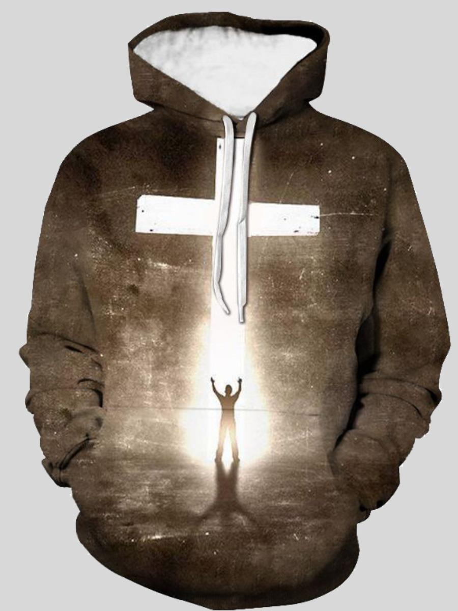 LW Men Hooded Collar Cross Print Hoodie
