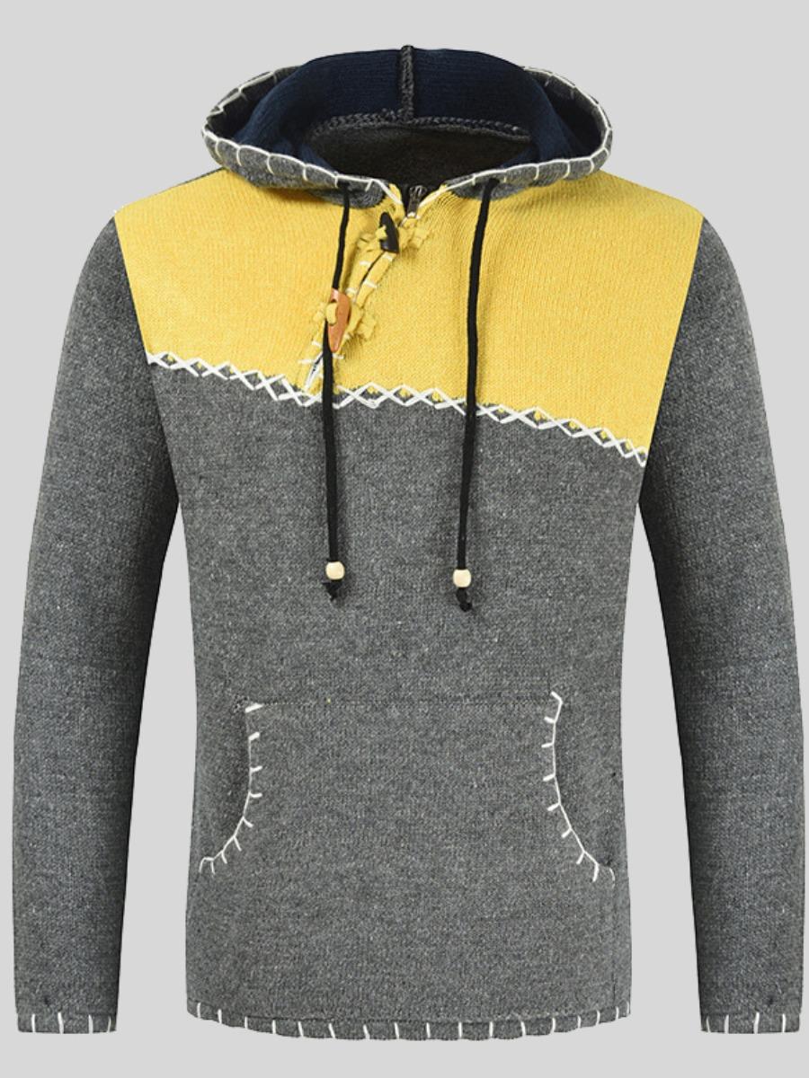 LW Men Color-lump Kangaroo Pocket Sweater