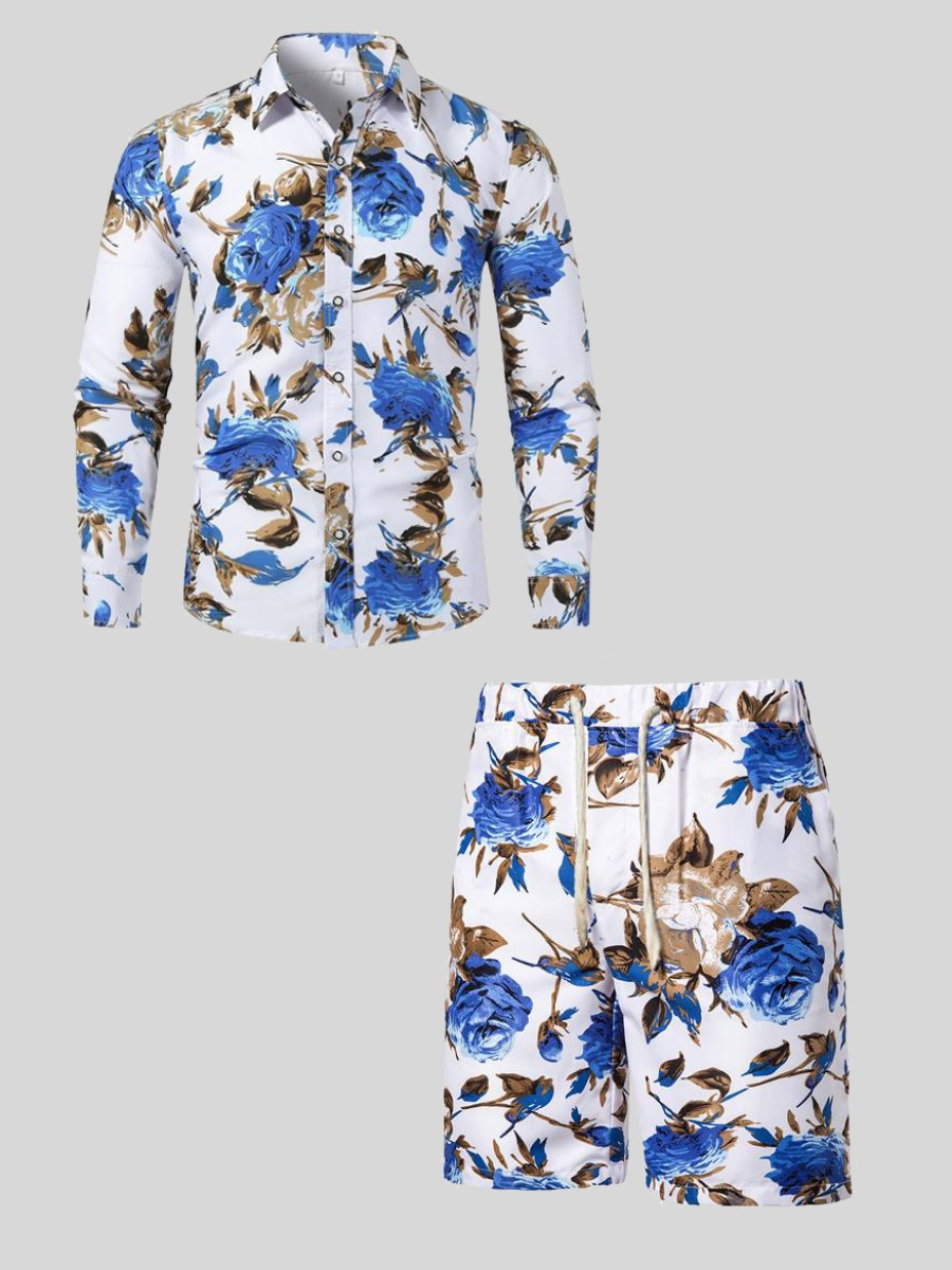 LW Men Floral Print Drawstring Shorts Set